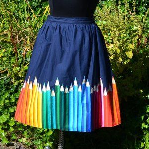 Modcloth 2X Colored Pencil Pattern A-Line Skirt